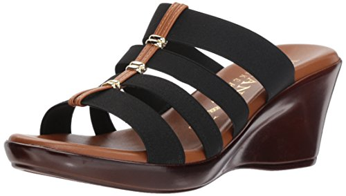 ITALIAN Shoemakers Women's Clover Wedge Sandal Black 9.5 M ()