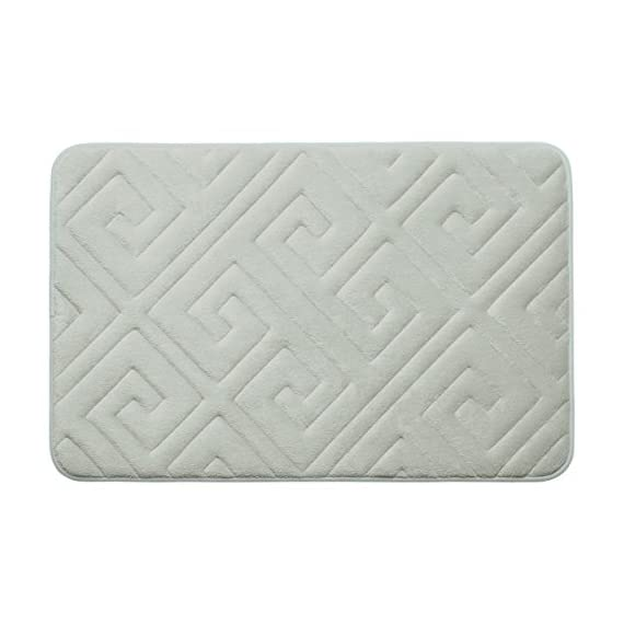 """Bounce Comfort Caicos Extra Thick Premium Memory Foam Bath Mat with BounceComfort Technology, 20 x 32"""" Light Grey - Includes one Bounce Comfort plush memory foam bath mat Sizes include 17 x 24 inch or 20 x 32 inch Microfiber surface wicks away water and dries quickly - bathroom-linens, bathroom, bath-mats - 41D6fCxNuxL. SS570  -"""
