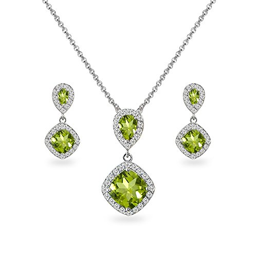 Pear Peridot Bracelet - Sterling Silver Peridot & White Topaz Dangle Earrings & Necklace Set