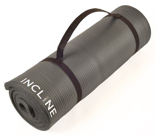 Incline Fit Extra Thick and Long Comfort Foam Yoga/Exercise Mat with Carrying Strap, Elephant Gray