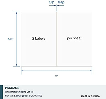 PACKZON Round Labels for Laser//Inkjet Printers Permanent Adhesive 2 Inches Diameter White Matte, Pack of 300