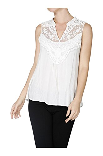 2LUV Women's Sleeveless Blouse With Crochet Lace Neckline Off White S (T1110)