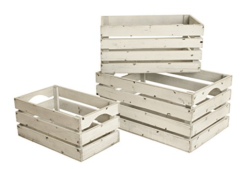 Wald Imports FL5004 White-Washed Distressed Storage Crates, Set of 3 (Small Wood Fruit Basket compare prices)