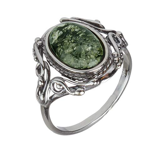 HolidayGiftShops Sterling Silver and Baltic Green Amber Ring Georgine Size: 8 ()