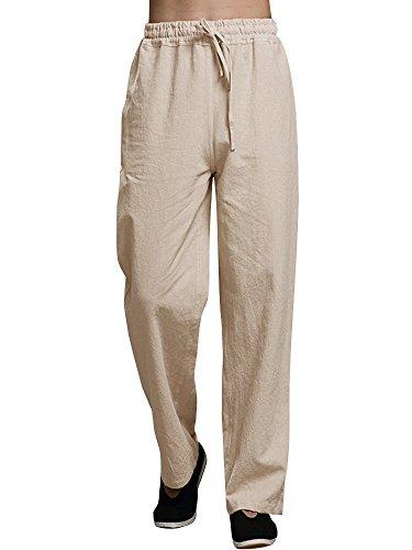 Ermonn Mens Linen Pants Casual Loose Fit Elastic Waist Drawstring Cargo Pants ()