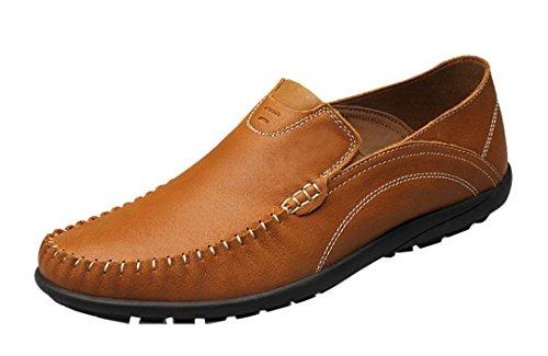 TDA Mens Hot Soft Elastic Slip On Leather Driving Business Penny Loafers Dress Mocccasin Boat Shoes Brown kGJdY