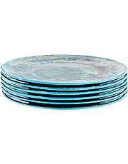 """Certified International Radiance Teal Melamine 8.5""""Salad/Dessert Plate, Set of 6"""