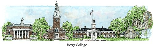 Berry College - Collegiate Sculptured Ornament by Sculptured Watercolor Ornaments