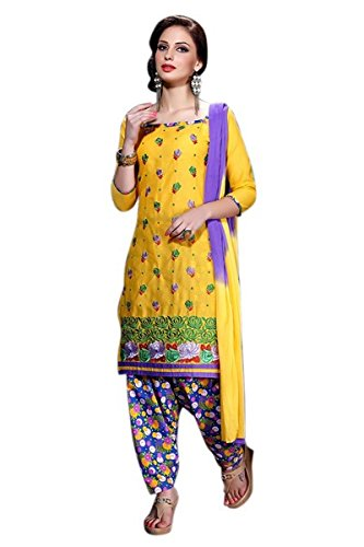 Vibes Women's Semi Loan Unstitched Dress Materials (V307-102_Yellow Colour)