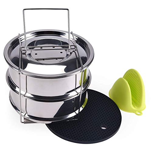 Stackable Steamer Insert Pans for Instant Pot Accessories, Stainless Steel Steamer Pans with Handle & Two Interchangeable Lids for 5/6/8 QT Electric Pressure Cooker