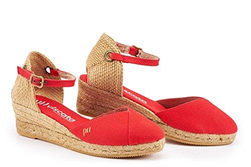 Pubol punta da zeppa Made Rot cm chiusa classiche alla Viscata e Spain Espadrillas in con 5 con caviglia cinturino f8fqdR