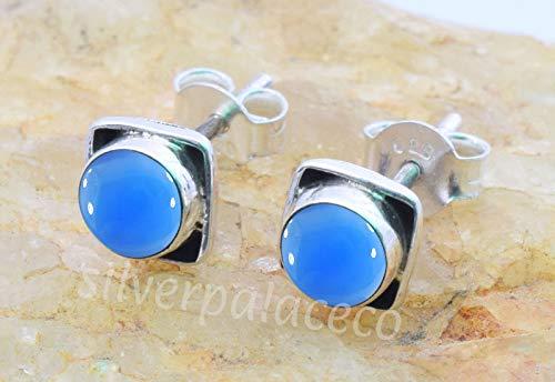 925 Sterling Silver Blue Chalcedony Stud Earrings- Girl Women Blue Chalcedony Stone Gemstone Stud Post Earrings Jewellery