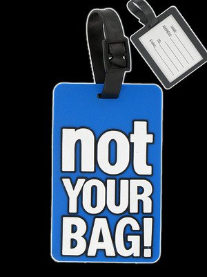 "Luggage Tag ""NOT YOUR BAG"" Novelty BLUE Label Secret Santa by parties & prezzies"