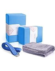 Arltb Yoga Block 2 Pack with Yoga Strap Set Yoga Bricks Non-Slip Surface for Pilates, Meditation, Fitness & Gym - 4 x 6 x 9 inch
