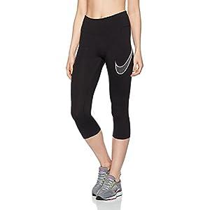 NIKE Women's Dry Capri Training Leggings (Small, Black/White)