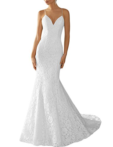 DarlingU Women's Backless Mermaid Spaghetti Straps Lace Wedding Dress Formal Bridal Gowns 2018 White 10 by DarlingU