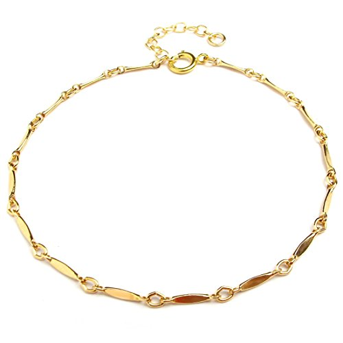 Dainty Bracelet for Women Girls, 14K Gold Filled, Adjustable Chain, Gifts for Mom Friend Sister, Made in USA, Rose/Gold, 6.5