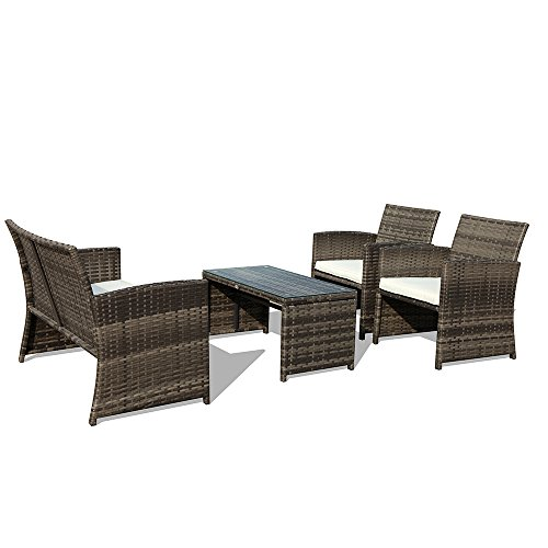 PATIORAMA 4-Piece Wicker Patio Furniture Set, Rattan Sectional Furniture  Set with Cream White - Amazon.com : PATIORAMA 4-Piece Wicker Patio Furniture Set, Rattan
