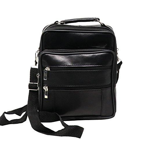 Victory Furrier Vertical Cross Body Shoulder Bag Genuine Leather Messenger Handbag (Large)
