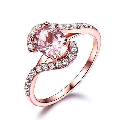 Pink Sapphire Flower Ring - 6x8mm Oval Pink Sapphire Unique Engagement Ring CZ Wedding Band 925 Sterling Silver Rose Gold Plated