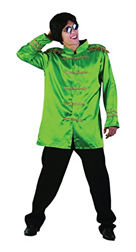 Mens 1960s 60s Sargent Pepper Musician Stag Do Red Green Pink Blue Fancy Dress Costume Outfit (Green) -