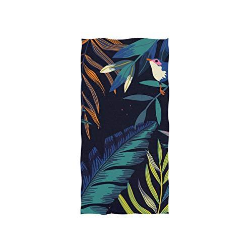 DOMIKING Hand Drawn Tropical Birds Leaves Print Soft Bath Towel Absorbent Fade Resistant Pool Beach Bath Towel for Bathroom Hotel Gym and Spa, 30