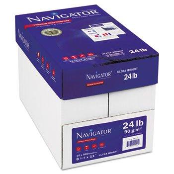 Navigator Platinum Paper, 99 Brightness, 24lb, 8-1/2 x 11, White, 5000/Carton