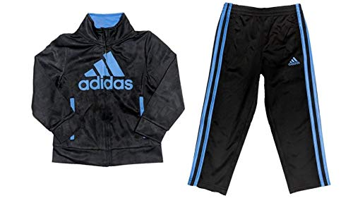 adidas Toddler Boys' Iconic Tricot Jacket and Pant Set, Black/Blue, 3T
