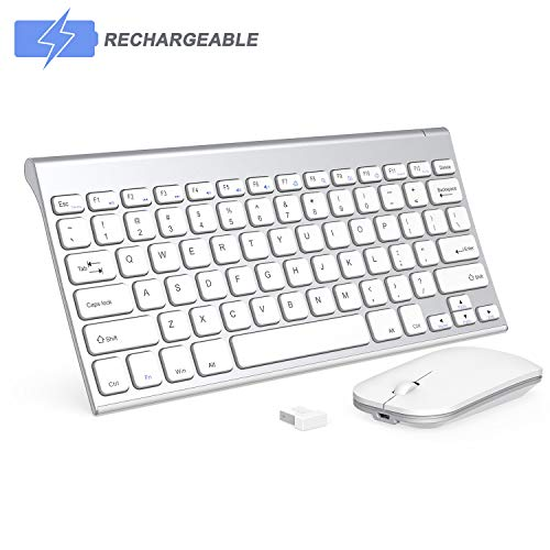 Wireless Keyboard and Mouse Combo, Seenda Small Rechargeable Low Profile Wireless Keyboard and Mouse with Long Battery Life for Windows Devices-Silver and White