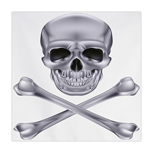 iPrint Satin Square Tablecloth,Silver,Vivid Skull and Crossbones Dangerous Scary Dead Skeleton Evil Face Halloween Theme Decorative,Dimgray,Dining Room Kitchen Table Cloth Cover -