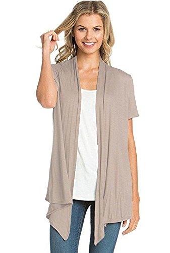 (Encler Women's Short Sleeve Open Front Drape Cardigan Wrap Sweater (S-3X) Reg Plus Size - Made in USA (X-Large, Mocha))