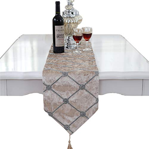 (Luxury Western Morden Coffee Checker Table Runners 90 inch Approx for Wedding Party and Quilt Patterns)