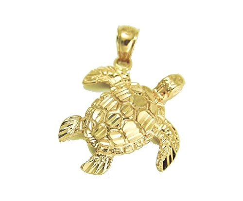 14k Solid yellow gold sparkly diamond cut Hawaiian sea turtle honu pendant medium