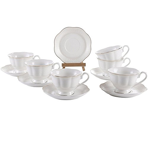 6 Ounce Embossed Flower Gold Edge Coffee Cups and Saucers with Handle for Coffee Latte Mocha Cappuccino Espresso Tea Cups and Saucer New Bone China Porcelain Set of 6 - Edge Tea Saucer