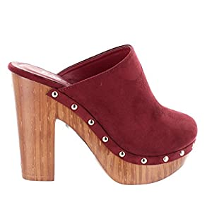 Urban Heels Women's STACEY-05 Faux Suede Studded Platform Mule Clogs Block Heel