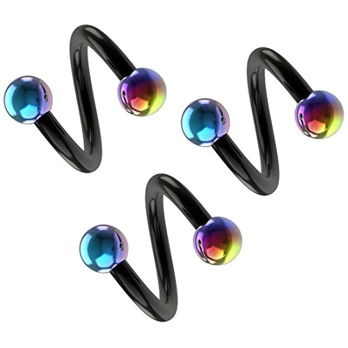 16g 5/16 Spiral Cartilage Earring Eyebrow Ear Gauge Tragus Helix Hoop Black Anodized Surgical Steel Stainless Twister Piercing (8mm) Rainbow & Black Barbell Bar x 3 set by BLING UNIQUE