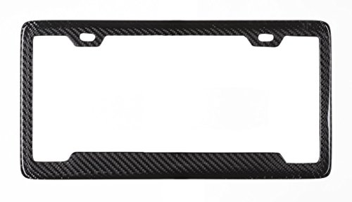 Real 100% Carbon Fiber License Plate Frame Tag Cover FF - D With Matching Screw Caps - 1 (Frame Real Carbon Fiber)