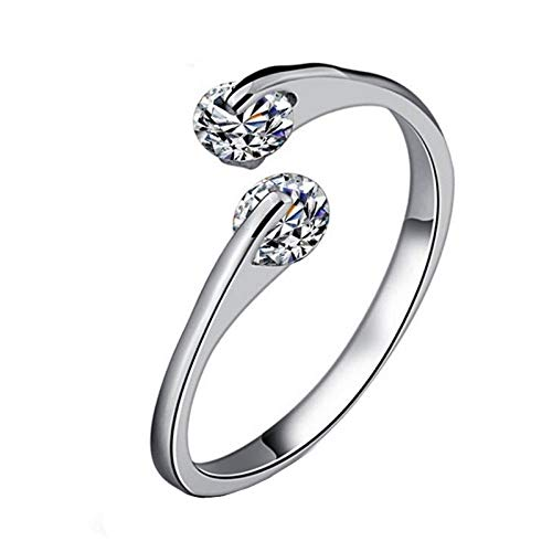 Wansan Open Ring Simple Silver Diamond Jewelry Custome Ring Accessary Valentines Day Birthday Gift for Women Girls