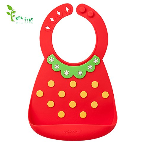 Price comparison product image Silicone Bibs-Cute Soft & Comfortable 3D Embossed Design for Toddlers Babies with Large Pocket,  Portable & Stain-Resistant as a Food Catcher Bib (Red Strawberry)