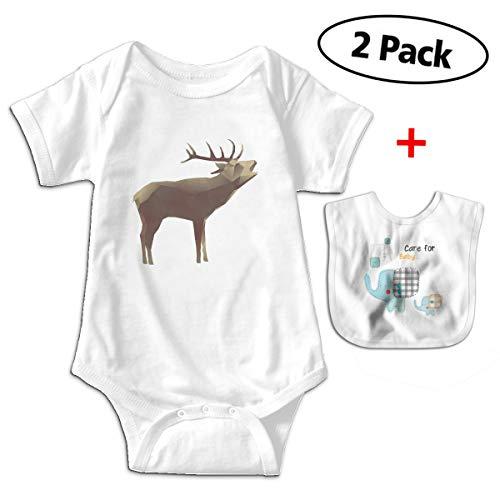 (SWEETIE Polygonal Animals Elk Baby Short Sleeve Infant Bodysuit Romper for 0-24months)