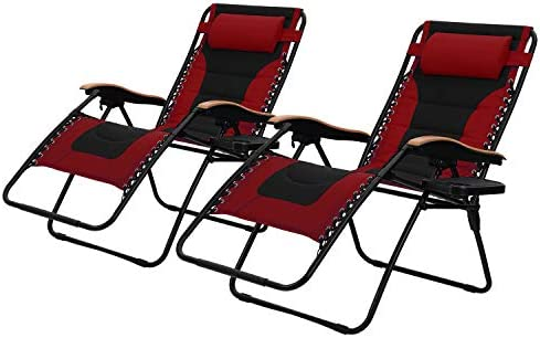 PHI VILLA Oversize XL Padded Zero Gravity Lounge Chairs Adjustable Recliner with Cup Holders Support 350lbs, 2 Pack Red