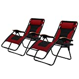 PHI VILLA Oversize XL Padded Zero Gravity Lounge Chairs Adjustable Recliner with Cup Holders Support 350lbs, 2 Pack (Red)