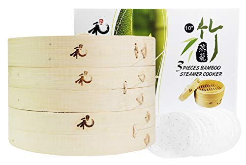 Yuho Asian Kitchen Bamboo Steamer 10-Inch, Individually Box, 2 Tiers & Lid, 10 Parchment Liners, Perfect For Steaming Dumplings, Vegetables, Meat, Fish, Rice, Healthy Lifestyle, 100% Natural Bamboo