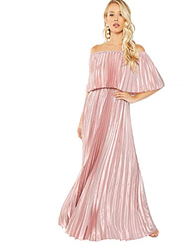 Milumia Women's Casual Off The Shoulder Layered Ruffle Nurse Maternity Long Maxi Dress Pink-2 M