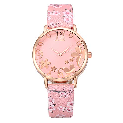 (CHLZYD Fashion Embossed Flowers Small Fresh Printed Belt Student Quartz Wrist Classics Gifts Strap Vintage Ladies Women)