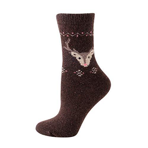 Womens Winter Wool Socks Autumn Soft Warm Thick Knit Casual Antelope Sock (Coffee, Free -
