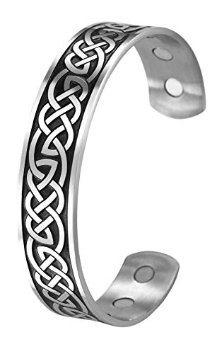 TEAMER Celtic Knot Magnetic Therapy Bracelet Health Care Norse Bangle Stainless Steel Antique Silver Black Pain Relief Cuff Bangle Best Gifts for Men