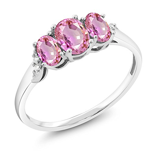 Gem Stone King 10K White Gold 1.12 Ct Pink Sapphire 3-Stone Ring With Accent Diamond (Size 6) (Diamond Engagement Rings With Pink Sapphire Accents)