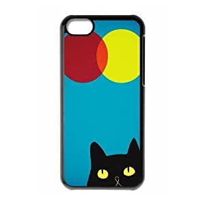 Cat, Sun and Moon Design Unique Customized Hard Case Cover for iPhone 5C, Cat, Sun and Moon iPhone 5C Cover Case Kimberly Kurzendoerfer