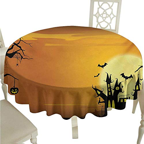 longbuyer Round Tablecloth Cotton Halloween,Gothic Haunted House Bats Western Spooky Night Scene with Pumpkin Drawing Art,Orange Black D70,for -
